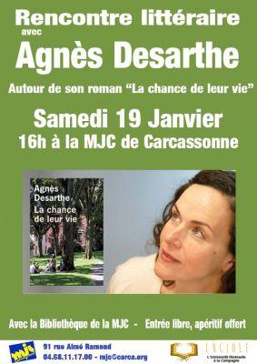 """Samedi 19 Janvier à 16h à la MJC Rencontre littéraire avec Agnès Desarthe autour de son roman """"La chance de leur vie"""" !"""