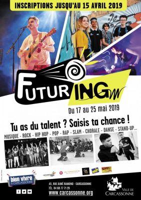 Comme chaque année, la Ville de Carcassonne avec le soutien de l'association One One, la DJ Community School, le GISC et la MJC, organise le Festival FUTURING du 17 au 25 mai 2019. Entièrement gratuit, ce festival offre l'opportunité d'une première scène à de jeunes artistes amateurs locaux, dans tous les styles artistiques : musique rock, pop, chanson française, chorale, hip hop, rap, danse, DJ, stand up…  Comment y participer ? Vous avez du talent et souhaitez le partager sur scène. Retirez un dossier d'inscription au Point Information Jeunesse de la ville situé au 45 rue Aimé Ramond. Vous avez jusqu'au 15 avril 2019 pour déposer votre candidature.  Vous serez peut-être sélectionnés pour participer au FUTURING 2019 et vous produire sur scène dans des conditions professionnelles optimales (ingénieur son, lumière et régisseur à votre disposition).   Venez découvrir les talents de demain au Festival Futuring (entrée gratuite) :      Vendredi 17 mai – MJC de Carcassonne : soirée hip hop     Samedi 18 mai – Halles Prosper Montagné : soirée DJ     Vendredi 24 mai – Le Chapeau Rouge : soirée pop-rock / hard-rock     Samedi 25 mai – Le Chapeau Rouge : soirée open format  Tu as du talent ? Saisis ta chance ! Inscrits-toi avant le 15 avril 2019 - service Jeunesse de la Ville au 04.68.77.71.29.