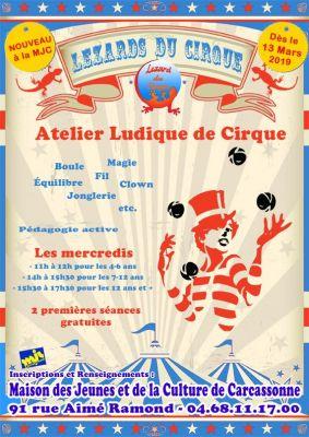 """Nouvelle activité à la MJC A partir du 13 mars 2019, les 4 à 18 ans sont invités à rejoindre un atelier ludique de cirque : """"Lézards du Cirque"""".  Jeu d'acteur, jonglerie, magie, acrobatie, équilibre seront les différents éléments abordés au cours des séances des mercredis : - de 11h à 12h pour les 4-6 ans - de 14h à 15h30 pour les 7-12 ans - de 15h30 à 17h30 pour les 12 ans et +  Les 2 premières séances sont gratuites, alors n'hésitez pas, venez essayer !"""